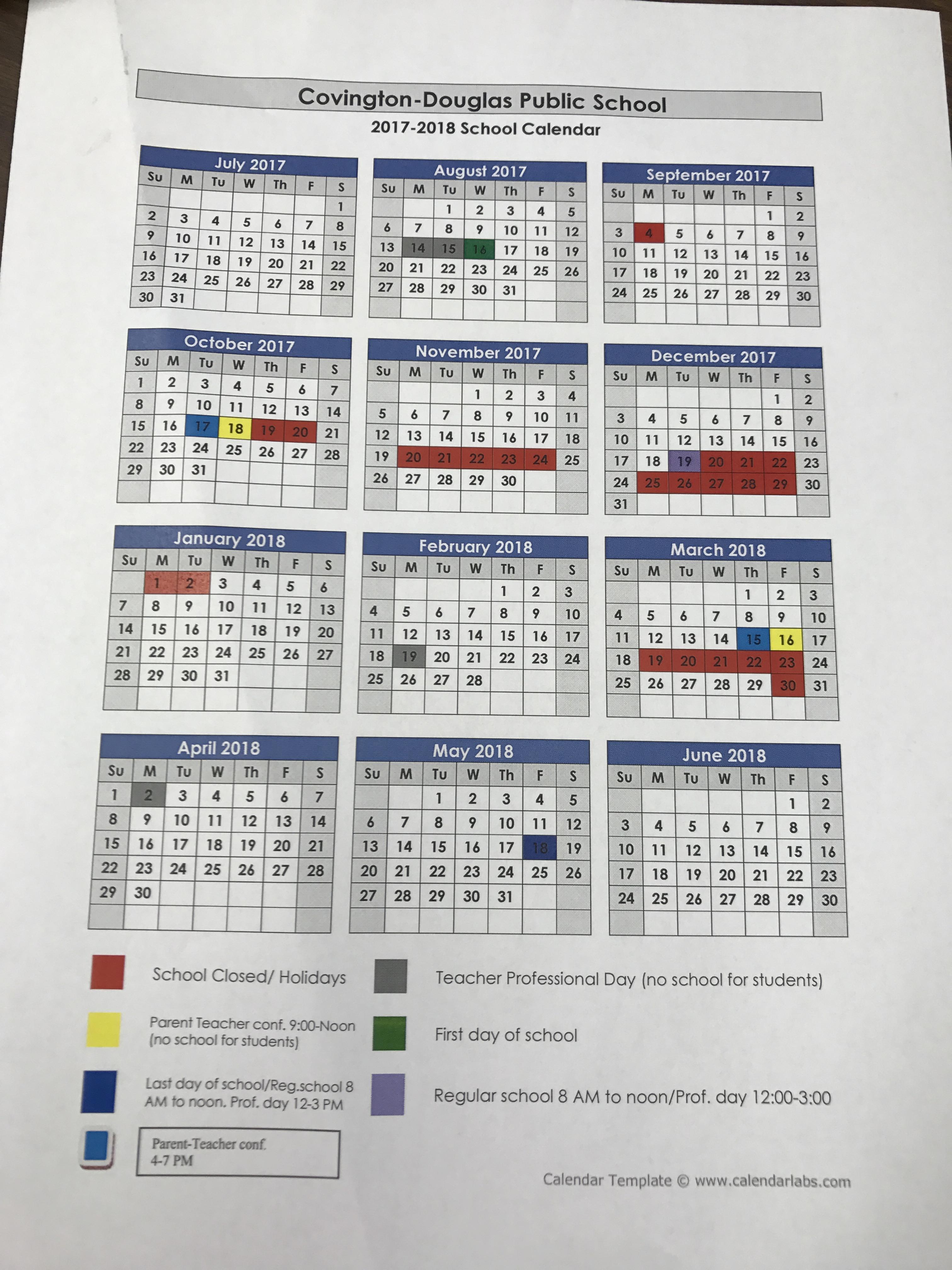 Covington-Douglas Public Schools - Yearly Calendar
